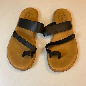 Kork-Ease Black Leather Sandals Size 7
